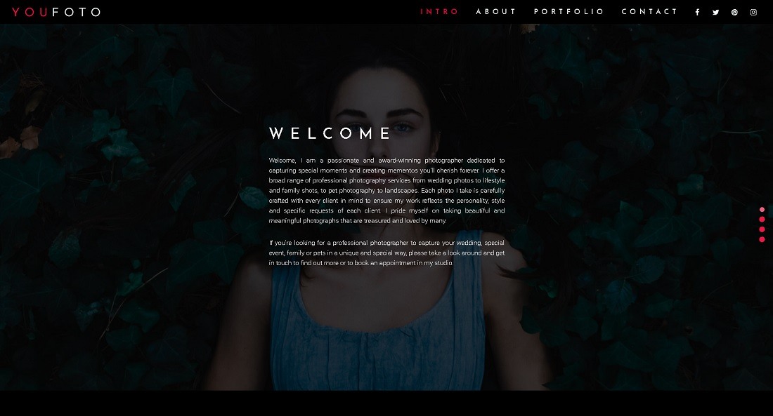 3D Photography Portfolio Theme Intro Page