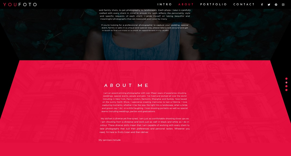 3D Photography Portfolio About Page