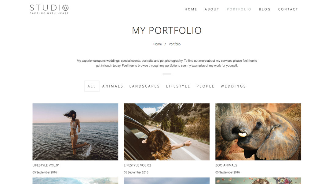 Clean Photography Portfolio Page