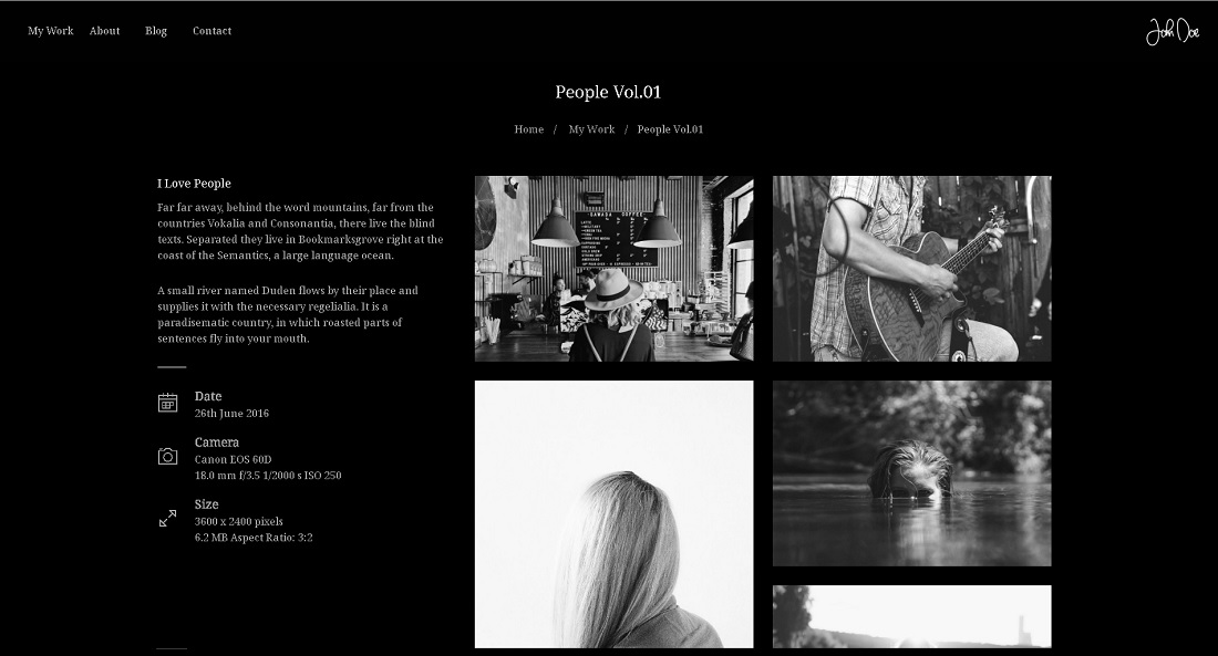 Dark Fullscreen Photography Portfolio Page