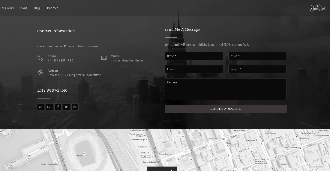 Dark Fullscreen Photography Portfolio Theme Contact Page
